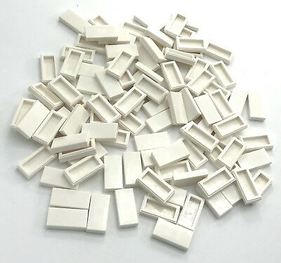 147 New LEGO 1x2 White SMOOTH TILES with Top Stud pieces Notch 3794 3794w X