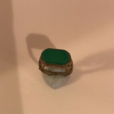 Ancient Old Roman Green Agate Decorated Shank Ring Size K 1/2 - L