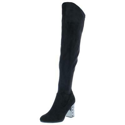 e4ad0078b9c CARLOS SANTANA SZ 7 Over The Knee Boots Black Floral Embroidered ...