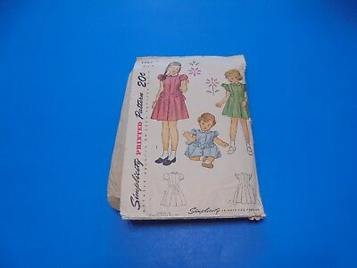 Simplicity Sewing Pattern 1787 Girls Dress Size 4 MISSING INSTRUCTIONS VTG 1940s