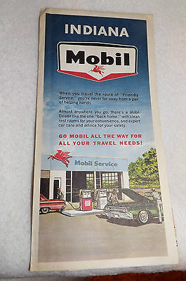 Vintage 1964 Rand McNally MOBIL OIL Co. Travel Map : INDIANA