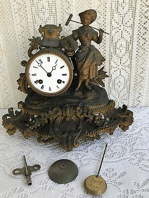 ***** Antique French Figural Mantel Clock Late 1800 ******