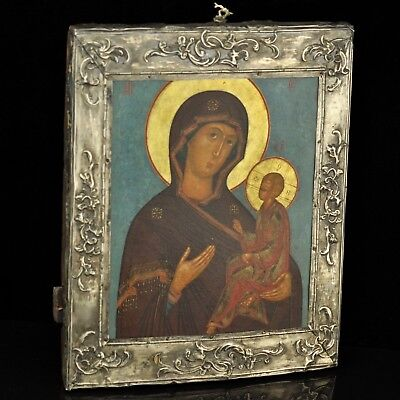 Antique 1784 Russian Icon of Virgin Mary, silver cover