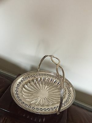 "Lovely Victorian Silver Plated Swing Basket On An Oval Foot 11.5"" X 9"" (Sb 131)"