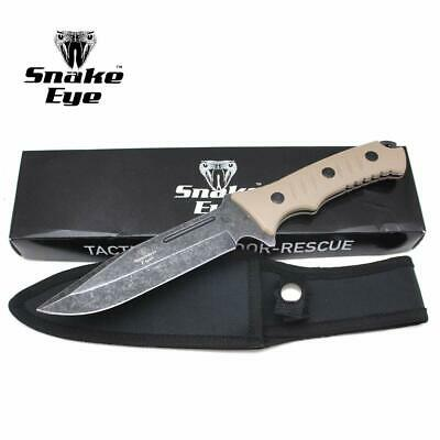 Snake Eye Tactical Heavy Duty Fixed Blade Hunting Knife Equipped w/Fire Starter