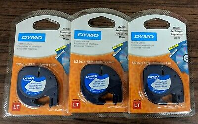 3PK Genuine Dymo 91331 WHITE Plastic LetraTag Label Tape LT-100 12mm x 4m 3 PACK