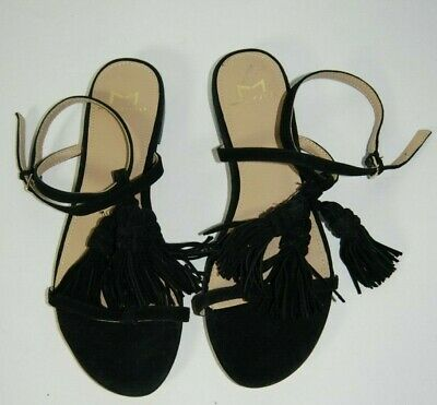 3555fb37cc MARC FISHER LTD Women's Size 5.5 Crystal Tassel Flat Sandal Black Suede $140