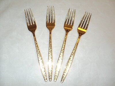 Four Salad Forks CARINO 1847 Rogers Bros IS GOLD-Plated Flatware Made in USA 4