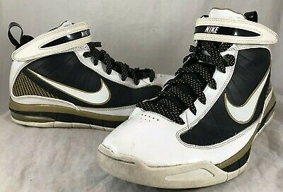 best loved 88543 14c20 Mens NIKE AIR MAX RISE White Black Gold Basketball Shoes 375659-113 SZ 10.5