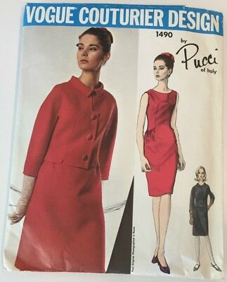 1960s PUCCI Misses Dress and Jacket Vogue Couturier Design 1490 Sewing Pattern