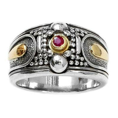 Gerochristo 2276 ~ Solid Gold & Sterling Silver with Ruby Medieval Band Ring