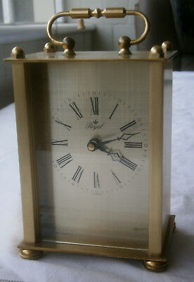 vintage ROYAL Brass / Gilt Carriage Quartz Clock from Germany