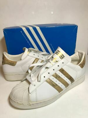 half off 3422c 93f51 Adidas Superstar White × Gold Snake Vintage Sneakers Sports Shoes US 9 1 2  Y114