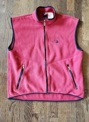 Vintage north face fleece Vest Mens Large Red Made In Usa 90s thin zip up retro
