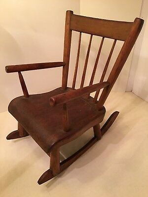 Rare Antique D David Ginter Lewisburg Union CO. PA Child's Windsor Rocking Chair