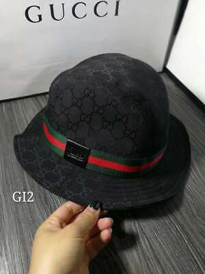 ee7407f22a941 B-492159 New Gucci Black Canvas Fedora Bucket Hat Cap Size M