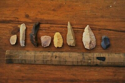 8 NEOLITHIC AUSTRALIAN Aboriginal stone TOOLS points & scrapers NICE STUDY GROUP