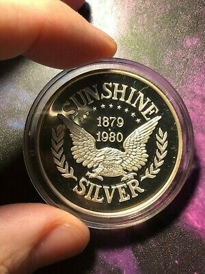 1980 Sunshine Silver 1 Troy oz .999 Fine Silver Proof Round