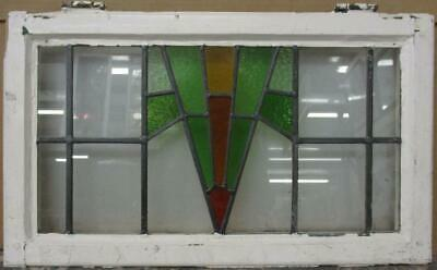 "MID SIZED OLD ENGLISH LEADED STAINED GLASS WINDOW Nice Geometric 26"" x 15.25"""