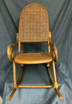 Vintage Child's Rocking Chair Rattan Bentwood Cane