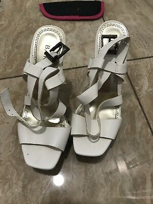 4a327c2c3c6 Womens Bakers white buckle high heel sandals shoes size 5