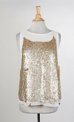 c19a6bfef6f86 NEW VINCE  295 antique gold sequin blouse top size M NWT -  189.00 ...