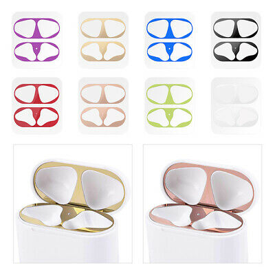 HQ Metal Dust Guard Protective Case Shell Skin Sticker for Apple Airpod Earphone