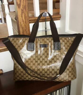 cb53b9c489cc GUCCI Beige Brown Crystal Coated Canvas Large Tote Travel Bag w/Shoulder  Strap