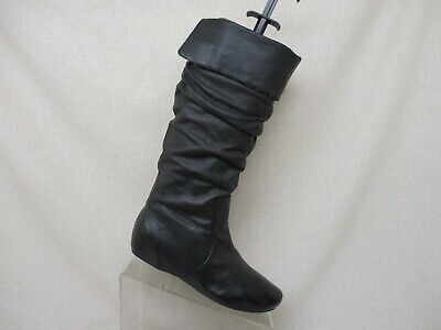 2ad57c7abf69 Steve Madden Black Leather Fold Over Slouch Knee High Fashion Boots Size 7.5  M