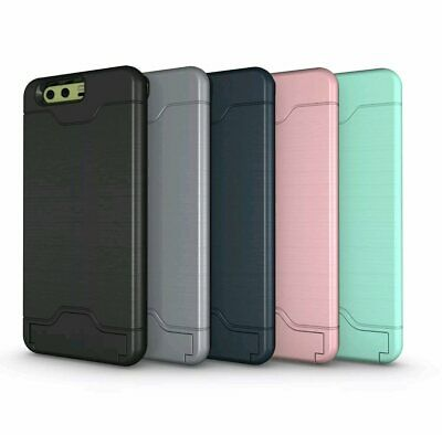 For Huawei P10 / Plus Shockproof Hybrid Card Slot Kickstand Hard Cover Case
