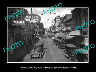 OLD 8x6 HISTORIC PHOTO OF MOBILE ALABAMA VIEW OF DAUPHIN St & STORES c1930