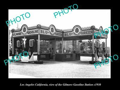 OLD 8x6 HISTORIC PHOTO OF LOS ANGELES CALIFORNIA GILMORE OIL GAS STATION 1930