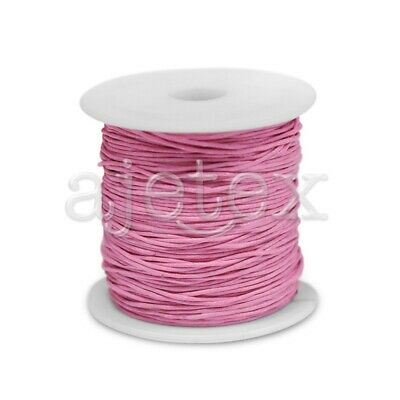 1 Roll 70M Waxed Cotton Cord Jewellery Craft Beading Thread Thong 0.8mm Pink