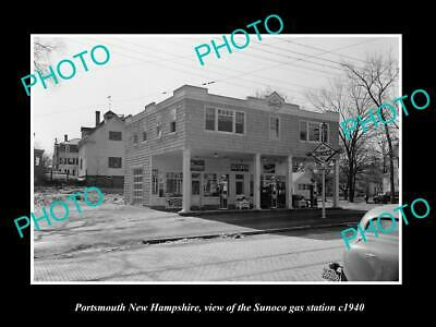 OLD 8x6 HISTORIC PHOTO OF PORTSMOUTH NEW HAMPSHIRE SUNOCO GAS STATION c1940