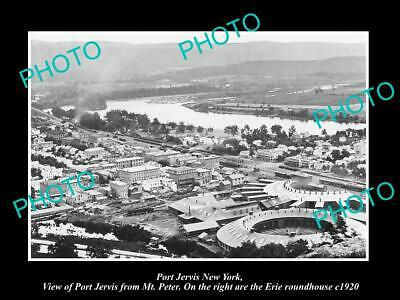OLD 8x6 HISTORIC PHOTO OF PORT JERVIS NEW YORK AERIAL VIEW OF TOWN & R/H 1920