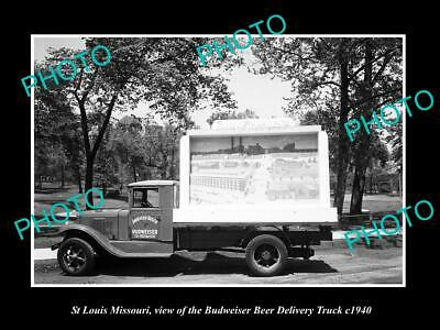 OLD 8x6 HISTORIC PHOTO OF ST LOUIS MISSOURI THE BUDWEISER BEER TRUCK c1940