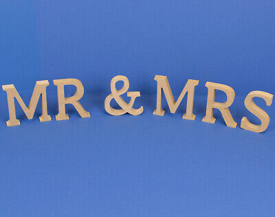 Large 130mm Wooden MDF 'Mr & Mrs' Letters to Decorate | Wood Shapes for Crafts