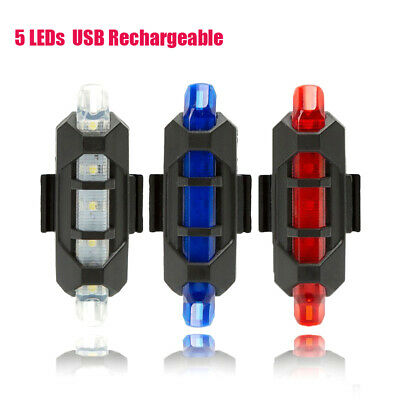 USB Rechargeable Bike Rear Tail Light 5 LEDs Bicycle Warning Safety Smart Lamp