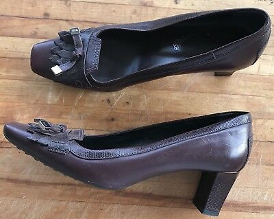 3b53ac83d2 Tod's Leather High Heel Loafer Gomma Pump Square Toe Tassel Fringed Size  8.5 US
