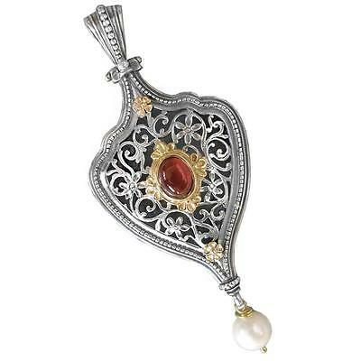 Solid Gold, Silver, Tourmaline & Pearl Drop - Byzantine Medieval Large Pendant