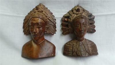 VINTAGE HAND CARVED WOODEN AZTEC NATIVE AMERICAN MAYAN BUSTS X 2 CIRCA 1970's