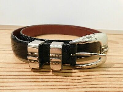 757551 ES20 Men/'s Belt Size 38 Dark Tan Lizard Print Leather Johnston /& Murphy