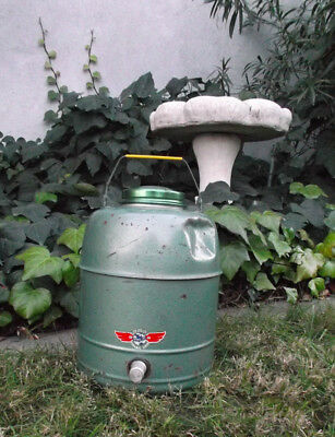 Vintage OLYMPIC Water Cooler Gallon Jug Insulated Hot Cold Metal Porcelain Green