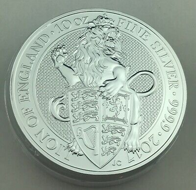 2017 Great Britain 10 Oz Silver Queen's Beast Coin The Lion in Capsule