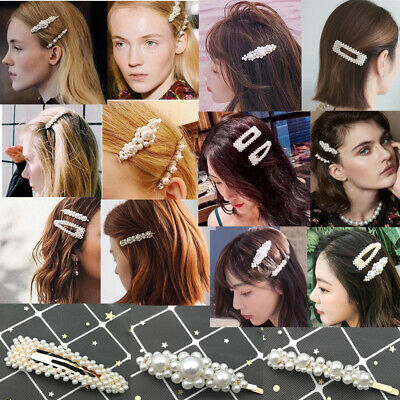 Fashion Women Girl Pearl Hair Clip Hairband Comb Bobby Pin Barrette Hairpin
