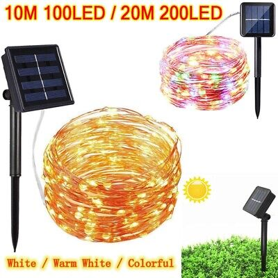 LED Solar String Lights Waterproof 100/200 LEDs Copper Wire Fairy Outdoor Garden
