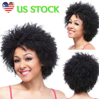 US Women Short Black Curly Wigs For Black Women African Lady Afro Full Curly Wig