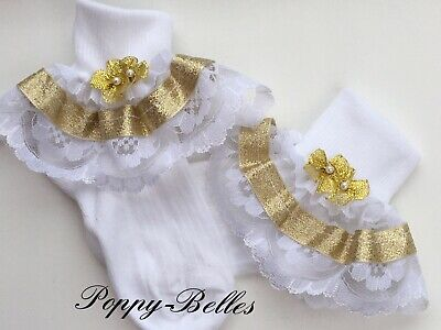 Handmade Gold bead bows baby/ girls frilly socks various sizes