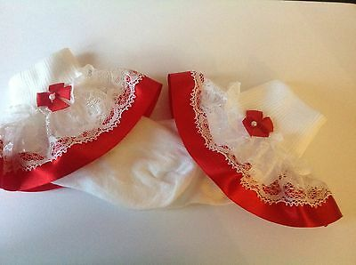 Red bead bow baby/girls frilly socks various sizes