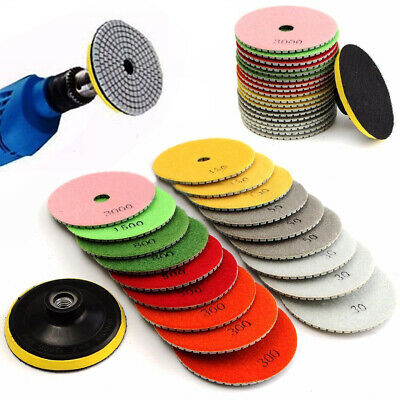 4 inch 19Pcs Diamond Polishing Pads Wet/Dry Set Granite Stone Concrete Marble AU